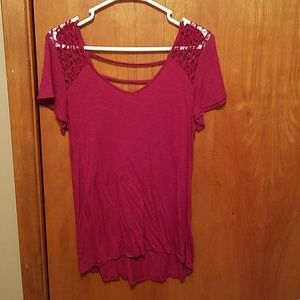 Maroon maurices lace shoulder top